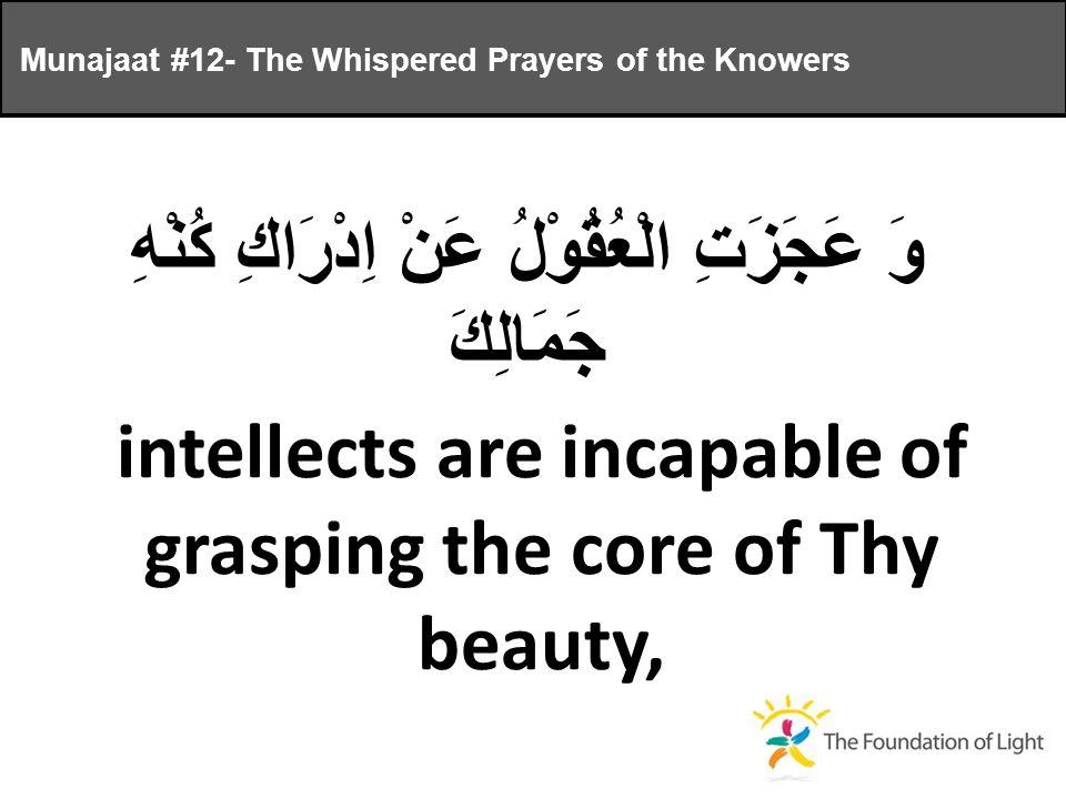 وَ عَجَزَتِ الْعُقُوْلُ عَنْ اِدْرَاكِ كُنْهِ جَمَالِكَ intellects are incapable of grasping the core of Thy beauty, Munajaat #12- The Whispered Prayers of the Knowers