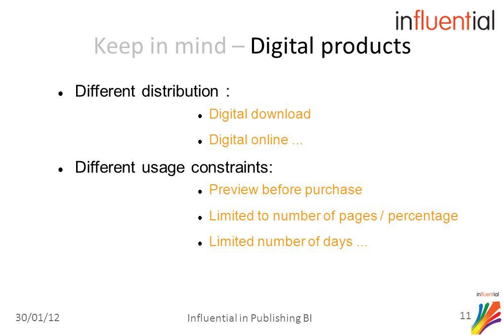 Keep in mind – Digital products Different distribution : Digital download Digital online...
