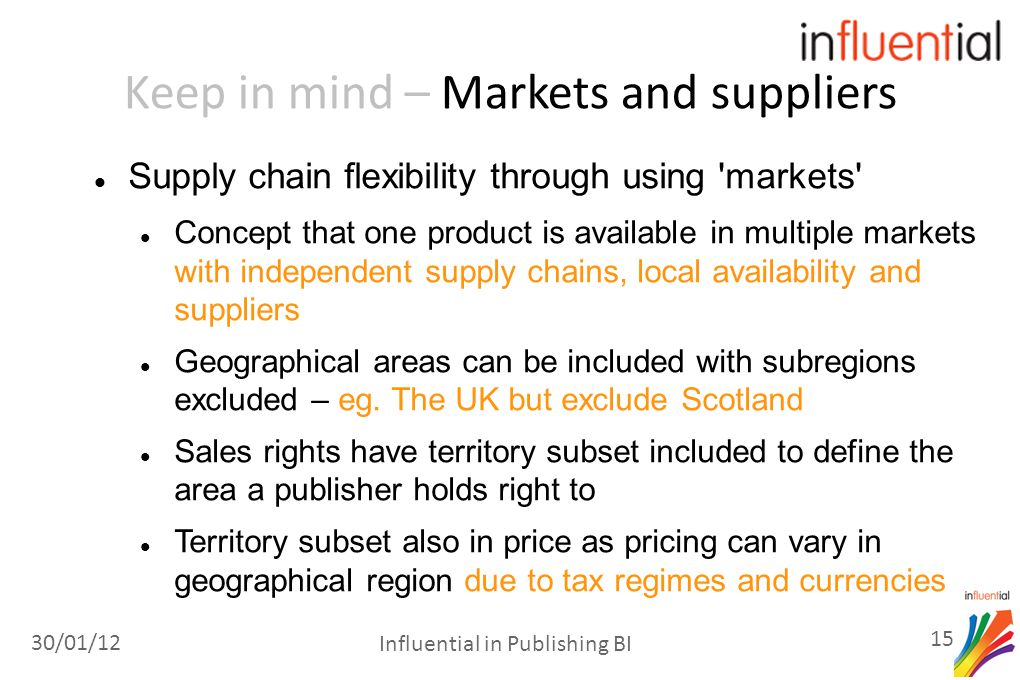 Keep in mind – Markets and suppliers Supply chain flexibility through using markets Concept that one product is available in multiple markets with independent supply chains, local availability and suppliers Geographical areas can be included with subregions excluded – eg.
