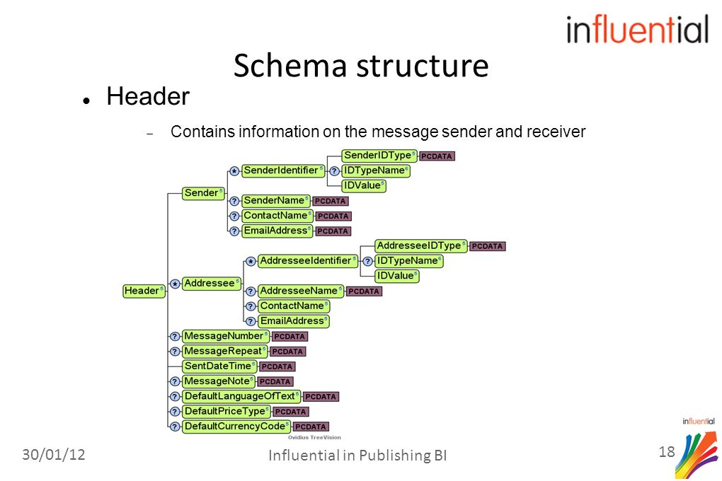 Header  Contains information on the message sender and receiver Schema structure 30/01/12 18 Influential in Publishing BI