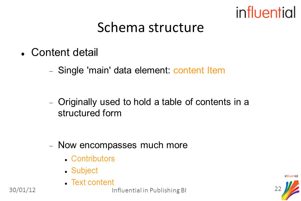 Schema structure Content detail  Single main data element: content Item  Originally used to hold a table of contents in a structured form  Now encompasses much more Contributors Subject Text content 30/01/12 22 Influential in Publishing BI