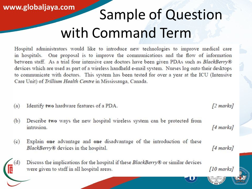 Sample of Question with Command Term