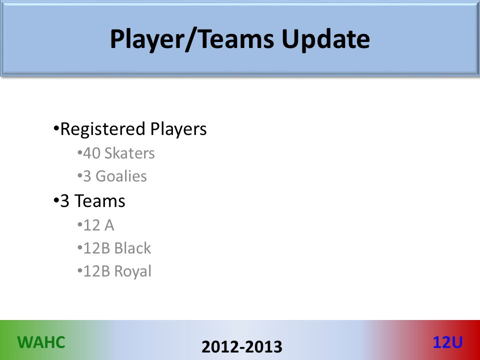 WAHC12U 2012-2013 Player/Teams Update Registered Players 40 Skaters 3 Goalies 3 Teams 12 A 12B Black 12B Royal