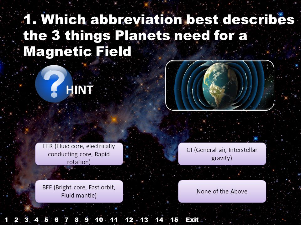 HINT FER (Fluid core, electrically conducting core, Rapid rotation) BFF (Bright core, Fast orbit, Fluid mantle) None of the Above GI (General air, Interstellar gravity) Correct.