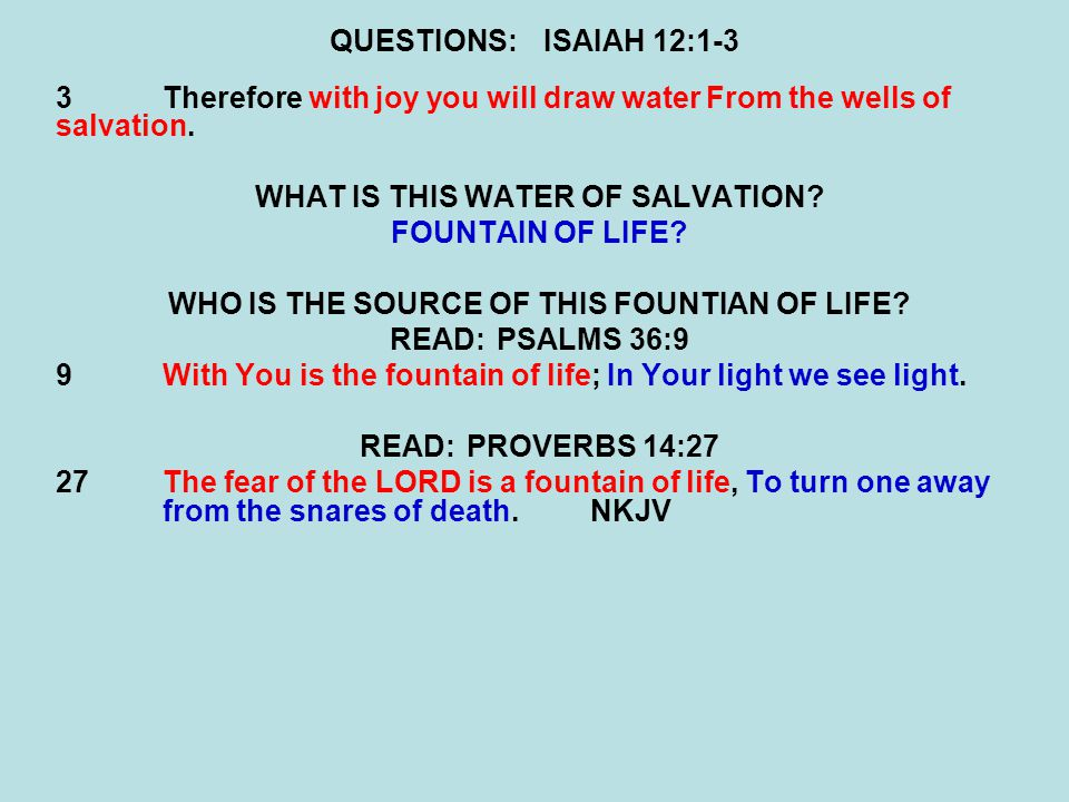QUESTIONS:ISAIAH 12:1-3 3Therefore with joy you will draw water From the wells of salvation.