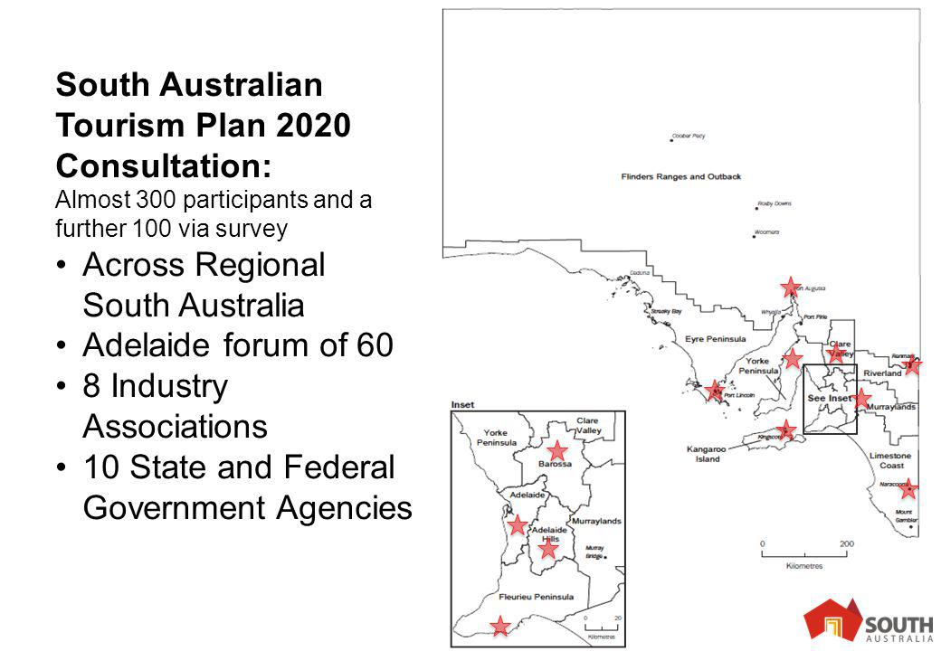 7 South Australian Tourism Plan 2020 Consultation: Almost 300 participants and a further 100 via survey Across Regional South Australia Adelaide forum of 60 8 Industry Associations 10 State and Federal Government Agencies