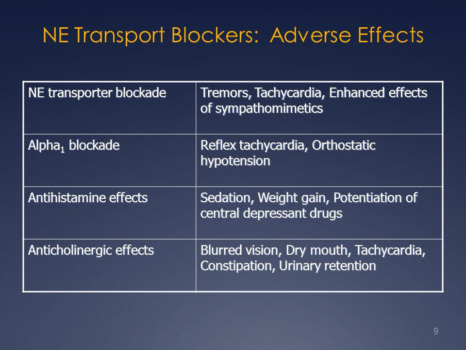 NE Transport Blockers: Adverse Effects NE transporter blockade Tremors, Tachycardia, Enhanced effects of sympathomimetics Alpha 1 blockade Reflex tachycardia, Orthostatic hypotension Antihistamine effects Sedation, Weight gain, Potentiation of central depressant drugs Anticholinergic effects Blurred vision, Dry mouth, Tachycardia, Constipation, Urinary retention 9