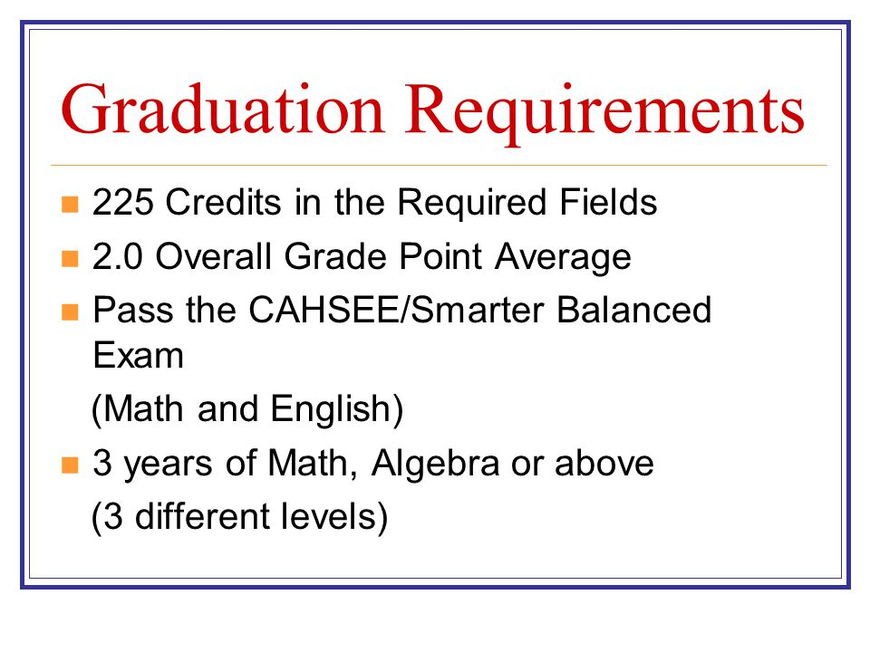 Graduation Requirements 225 Credits in the Required Fields 2.0 Overall Grade Point Average Pass the CAHSEE/Smarter Balanced Exam (Math and English) 3 years of Math, Algebra or above (3 different levels)