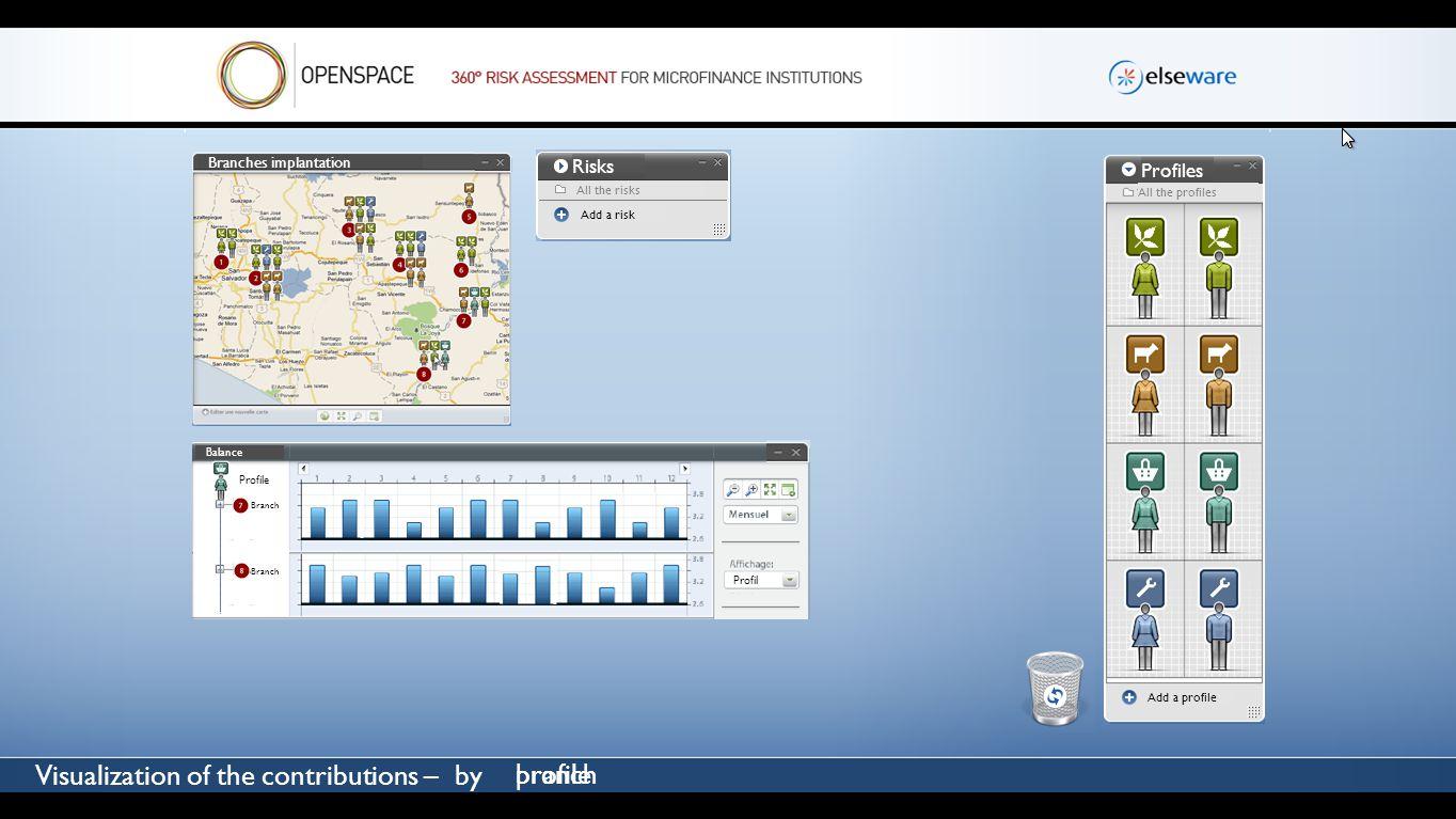 v Visualization of the contributions – by Profil Antenne Profil profilebranch Branches implantation Risks All the risks Add a risk Profiles All the pr