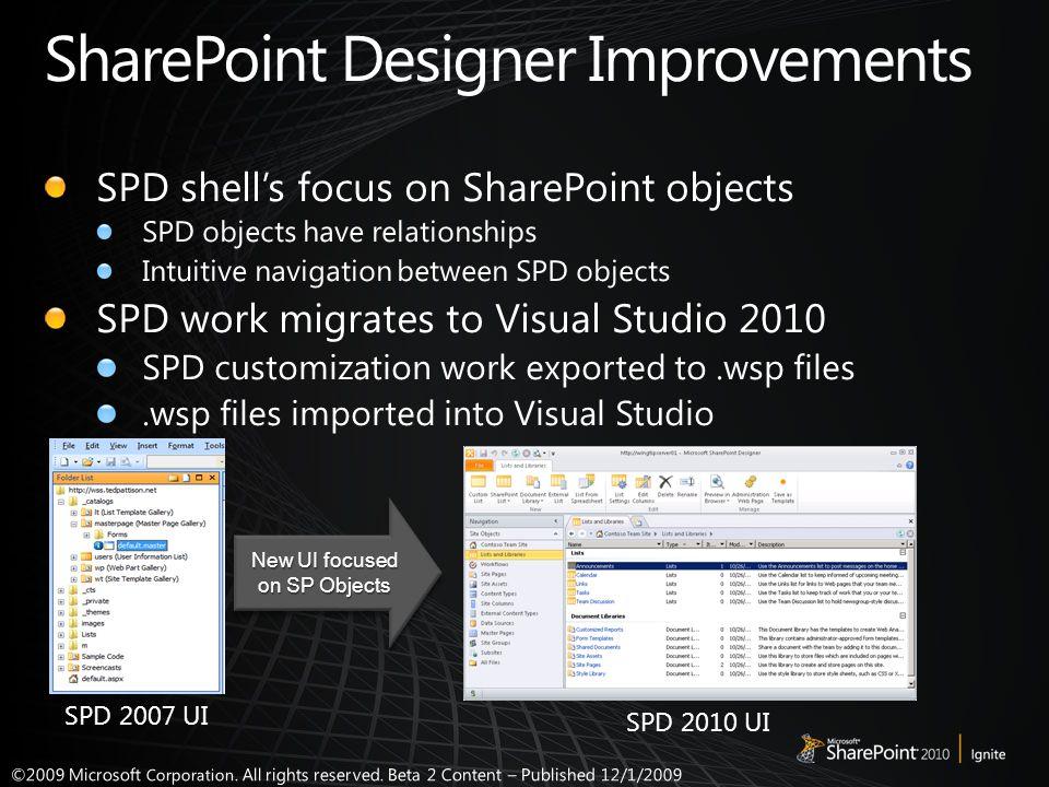 SPD 2007 UI SPD 2010 UI New UI focused on SP Objects