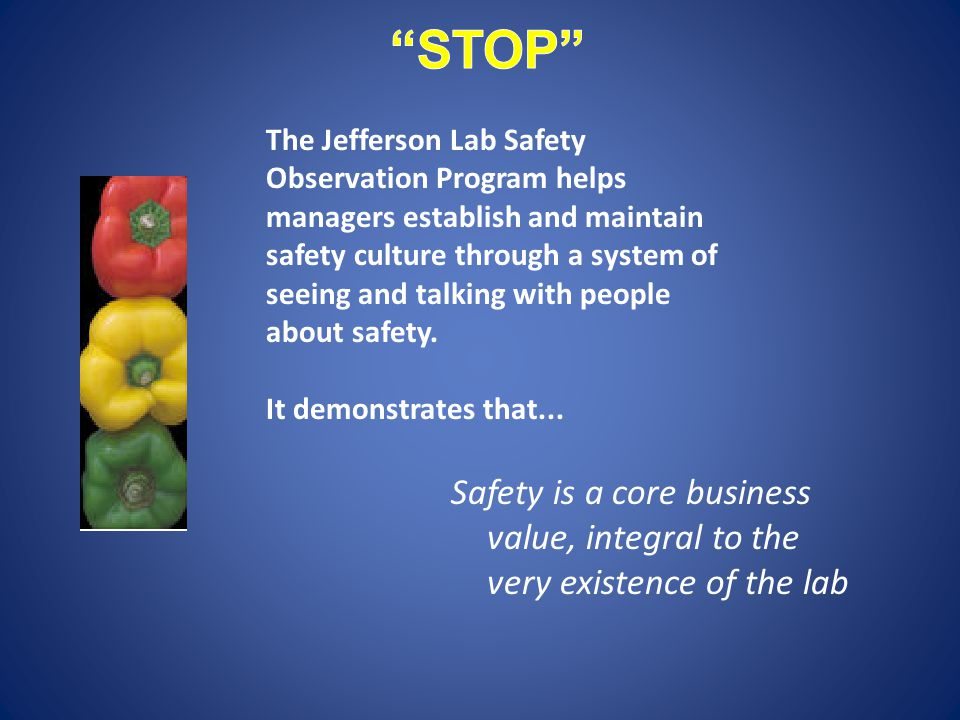 Safety is a core business value, integral to the very existence of the lab The Jefferson Lab Safety Observation Program helps managers establish and maintain safety culture through a system of seeing and talking with people about safety.
