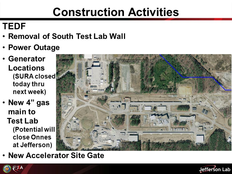 Construction Activities TEDF Removal of South Test Lab Wall Power Outage Generator Locations (SURA closed today thru next week) New 4 gas main to Test Lab (Potential will close Onnes at Jefferson) New Accelerator Site Gate