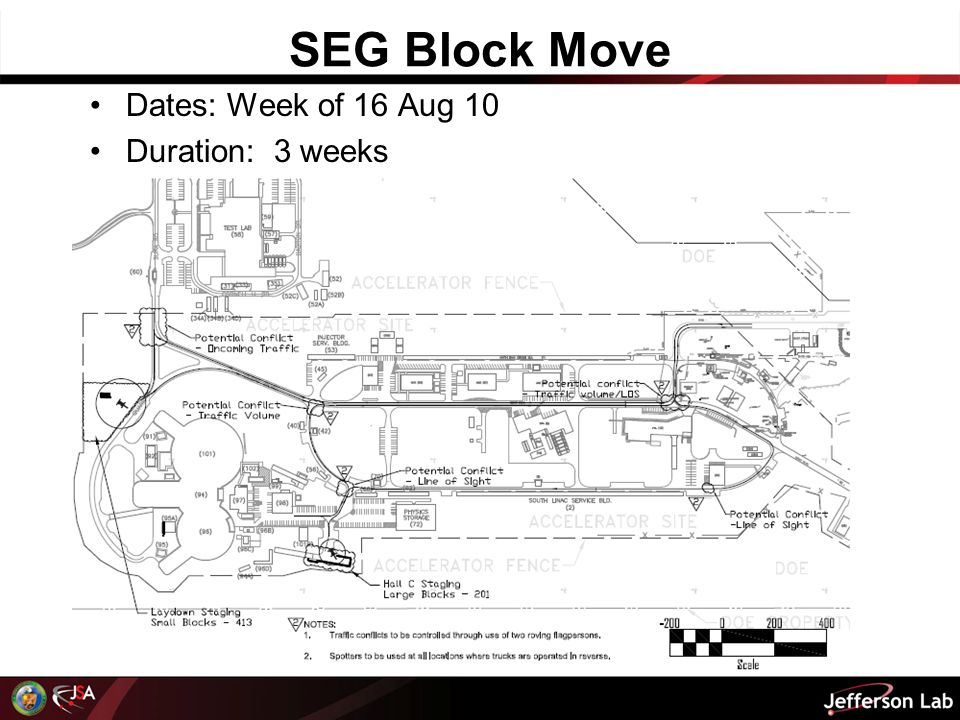 SEG Block Move Dates: Week of 16 Aug 10 Duration: 3 weeks