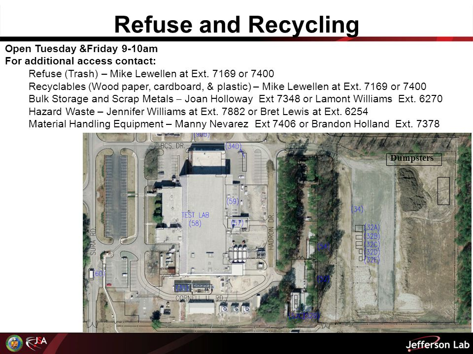 Refuse and Recycling Dumpsters Open Tuesday &Friday 9-10am For additional access contact: Refuse (Trash) – Mike Lewellen at Ext.