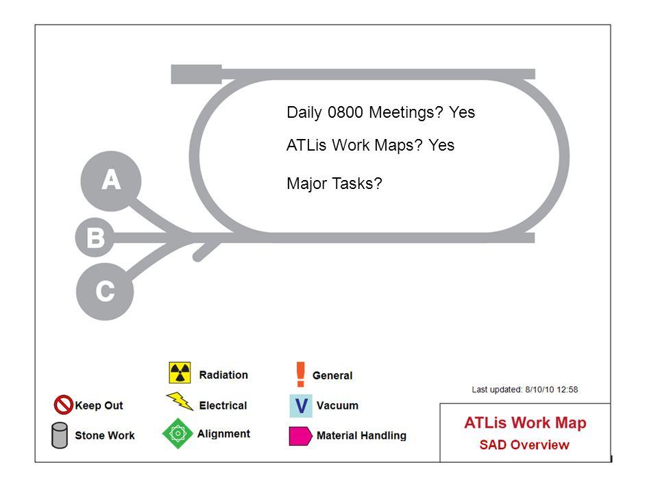 Daily 0800 Meetings Yes ATLis Work Maps Yes Major Tasks