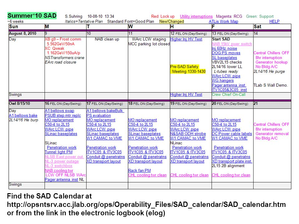 Find the SAD Calendar at http://opsntsrv.acc.jlab.org/ops/Operability_Files/SAD_calendar/SAD_calendar.htm or from the link in the electronic logbook (elog)