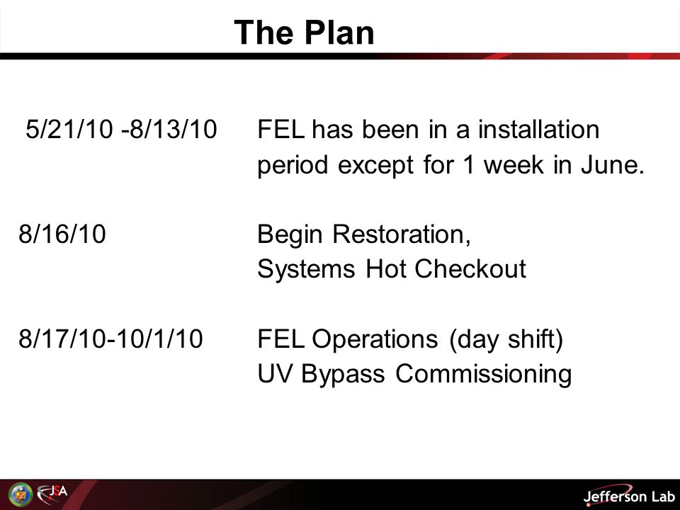 5/21/10 -8/13/10FEL has been in a installation period except for 1 week in June.