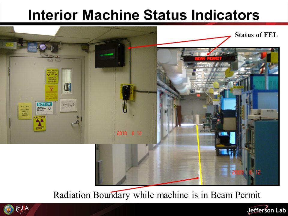 Interior Machine Status Indicators Status of FEL Radiation Boundary while machine is in Beam Permit