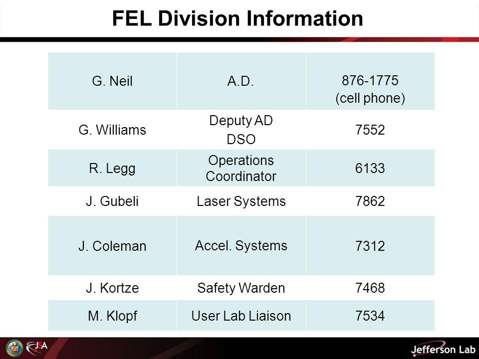 FEL Division Information G. NeilA.D. 876-1775 (cell phone) G.