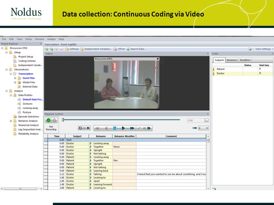 Data collection: Continuous Coding via Video