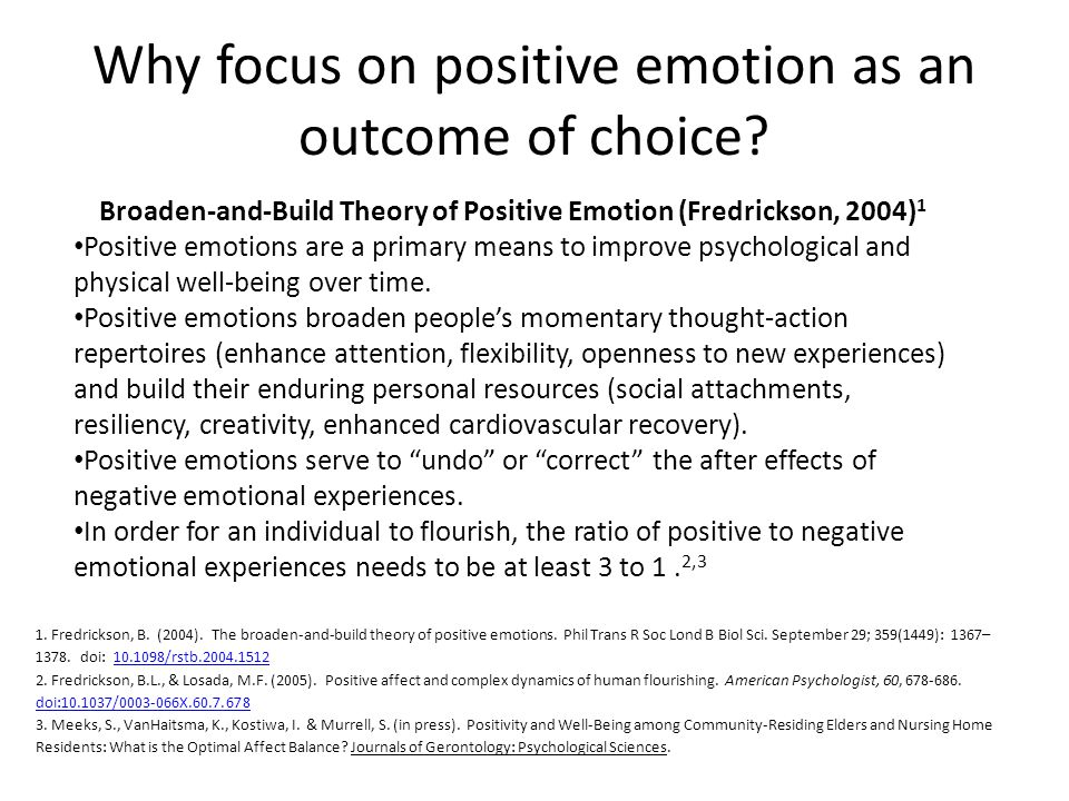 Why focus on positive emotion as an outcome of choice.