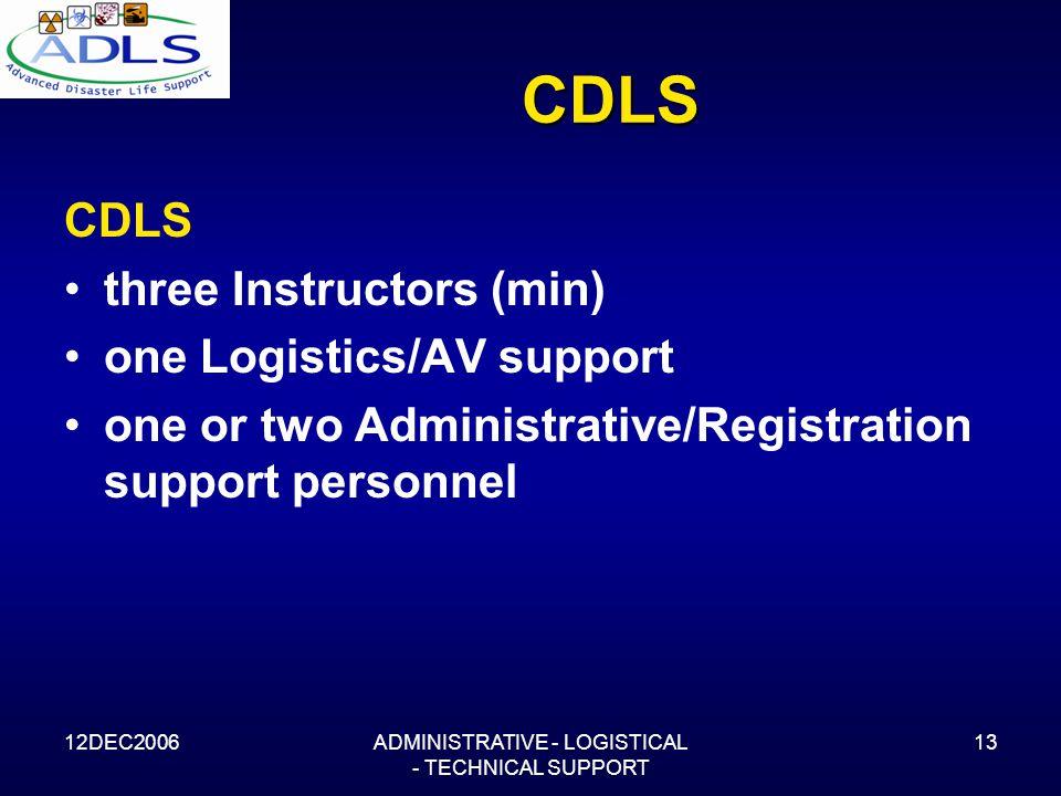 12DEC2006ADMINISTRATIVE - LOGISTICAL - TECHNICAL SUPPORT 13 CDLS CDLS three Instructors (min) one Logistics/AV support one or two Administrative/Registration support personnel