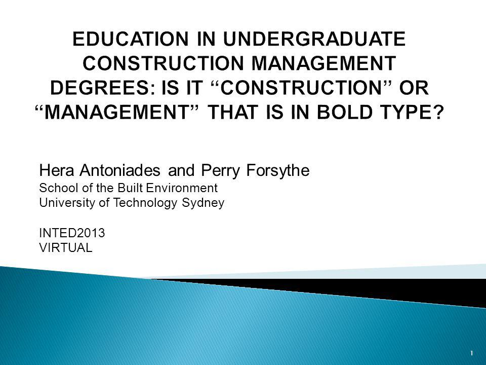 Undertake an analysis of course content subjects in a Construction Management undergraduate degree in NSW, Australia, to determine if the course content has moved away from construction technology to more generic areas of management.