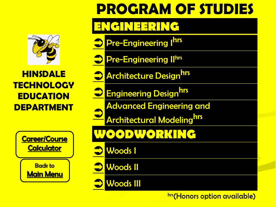 ENGINEERING  Pre-Engineering I hrs  Pre-Engineering II hrs  Architecture Design hrs  Engineering Design hrs  Advanced Engineering and Architectural Modeling hrs WOODWORKING  Woods I  Woods II  Woods III hrs (Honors option available) HINSDALE TECHNOLOGY EDUCATION DEPARTMENT PROGRAM OF STUDIES