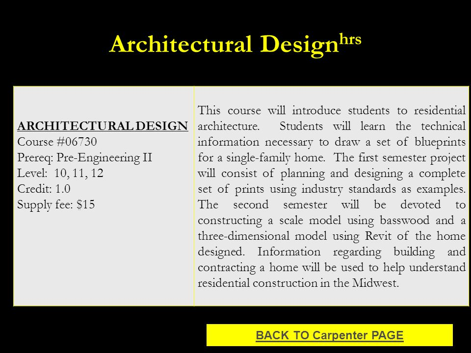 Architectural Design hrs ARCHITECTURAL DESIGN Course #06730 Prereq: Pre-Engineering II Level: 10, 11, 12 Credit: 1.0 Supply fee: $15 This course will introduce students to residential architecture.
