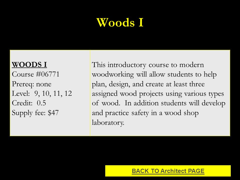 Woods I WOODS I Course #06771 Prereq: none Level: 9, 10, 11, 12 Credit: 0.5 Supply fee: $47 This introductory course to modern woodworking will allow students to help plan, design, and create at least three assigned wood projects using various types of wood.