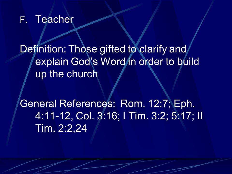 Specific Examples Timothy I Tim. 1:1-4; 4:12-16 II Tim 1:1-6; 4:2,5 Titus Titus 1:4-5 Peter I Pet.