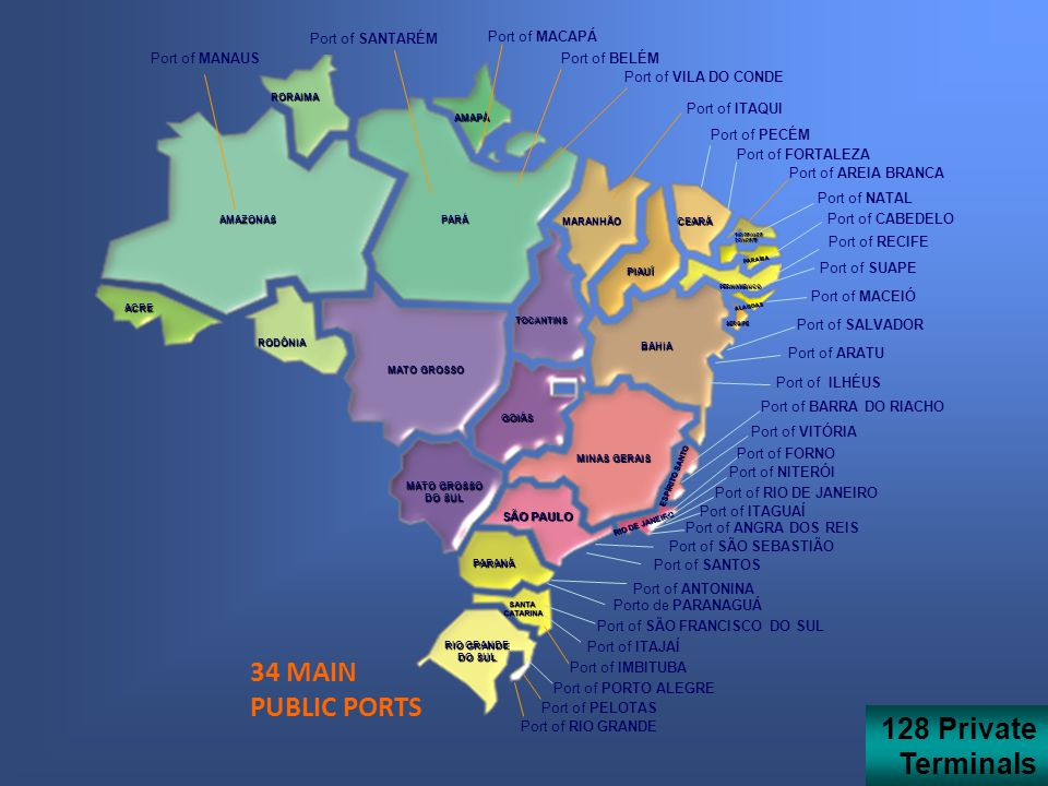 34 MAIN PUBLIC PORTS AMAZONASPARÁ AMAPÁ RORAIMA RODÔNIA MATO GROSSO TOCANTINS GOIÁS DO SUL MARANHÃO PIAUÍ CEARÁ RIO GRANDE DO NORTE PARAÍBA PERNAMBUCO ALAGOAS BAHIA MINAS GERAIS SÃO PAULO ESPÍRITO SANTO PARANÁ SANTACATARINA RIO GRANDE DO SUL SERGIPE RIO DE JANEIRO ACRE Port of MANAUS Port of SANTARÉM Port of BELÉM Port of VILA DO CONDE Port of ITAQUI Port of FORTALEZA Port of AREIA BRANCA Port of NATAL Port of CABEDELO Port of SUAPE Port of MACEIÓ Port of SALVADOR Port of ARATU Port of ILHÉUS Port of BARRA DO RIACHO Port of VITÓRIA Port of RIO DE JANEIRO Port of ITAGUAÍ Port of SÃO SEBASTIÃO Port of SANTOS Porto de PARANAGUÁ Port of SÃO FRANCISCO DO SUL Port of ITAJAÍ Port of IMBITUBA Port of PORTO ALEGRE Port of RIO GRANDE Port of MACAPÁ Port of RECIFE Port of NITERÓI Port of FORNO Port of ANTONINA Port of ANGRA DOS REIS Port of PELOTAS Port of PECÉM 128 Private Terminals