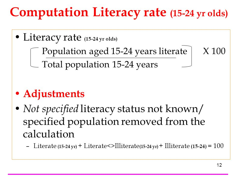 12 Literacy rate (15-24 yr olds) Population aged 15-24 years literate X 100 Total population 15-24 years Adjustments Not specified literacy status not known/ specified population removed from the calculation –Literate (15-24 yr) + Literate<>Illiterate (15-24 yr) + Illiterate (15-24) = 100 Computation Literacy rate (15-24 yr olds)