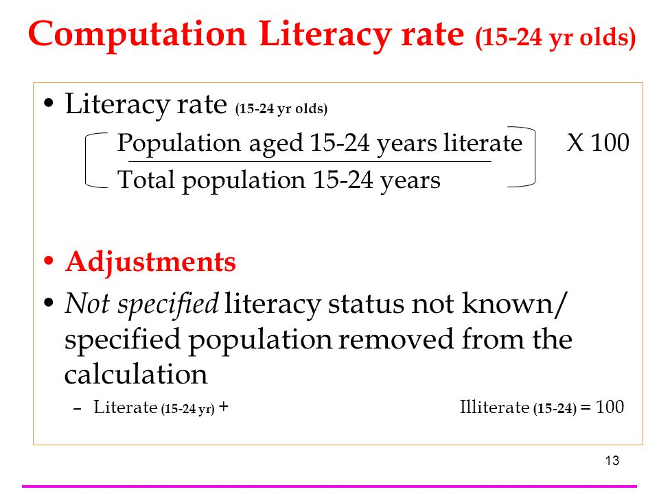 13 Literacy rate (15-24 yr olds) Population aged 15-24 years literate X 100 Total population 15-24 years Adjustments Not specified literacy status not known/ specified population removed from the calculation –Literate (15-24 yr) + Literate<>Illiterate (15-24 yr) + Illiterate (15-24) = 100 Computation Literacy rate (15-24 yr olds)