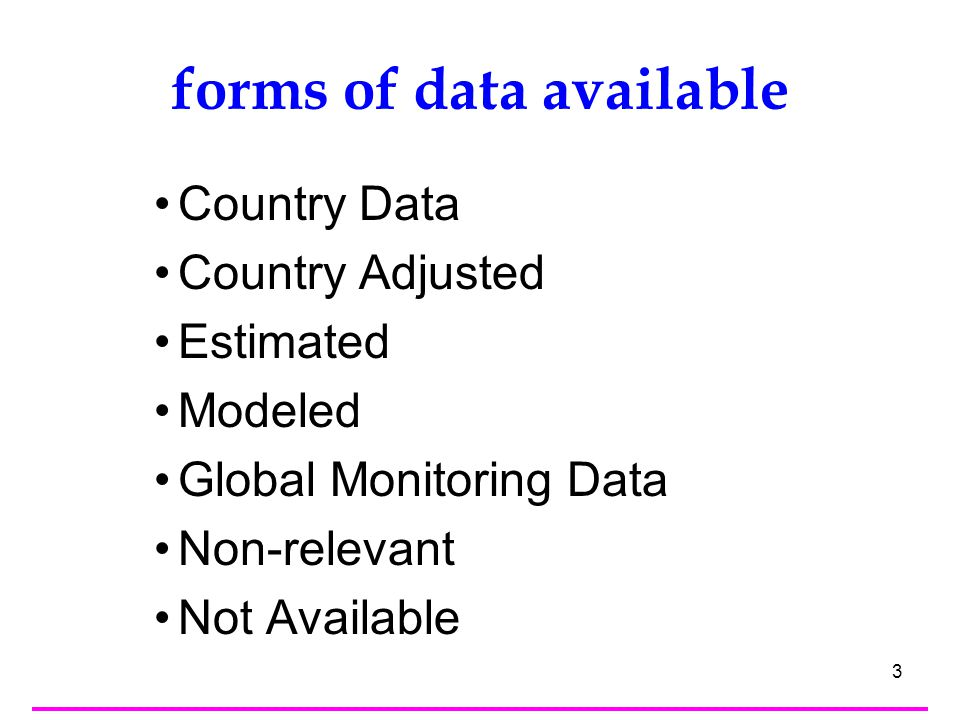 4 Country Data –The figure is the one produced and disseminated by the country (including data adjusted BY THE COUNTRY to meet international standards) Country Adjusted –The figure is the one produced and provided by the country, but adjusted by the international agency for international comparability—that is to comply with internationally agreed standards, definitions and classifications (age group, ISCED, etc) Estimated –The figure is estimated by the international agency, when corresponding country data on a specific year or set of years are not available, or when multiple sources exist, or there are issues of data quality.