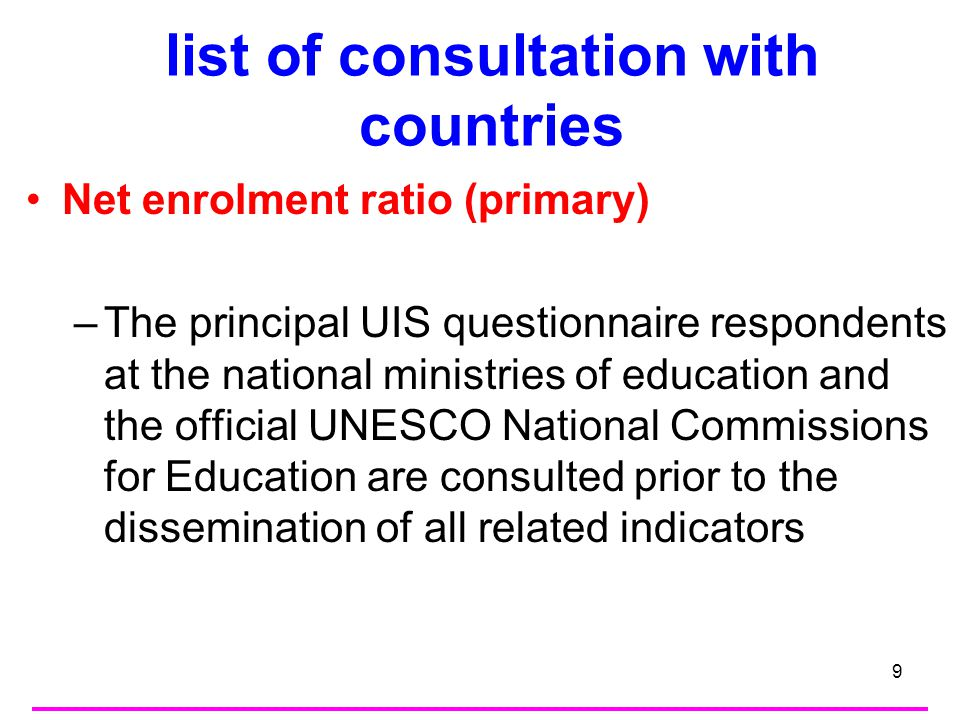 10 method of computation and/or adjustments Indicator 2.1 Net enrolment ratio (Primary) Number of students enrolled in Primary who are of the official primary school age (including those of Primary school age students enrolled in Secondary) divided by the population for the same age-group and multiply the result by 100.