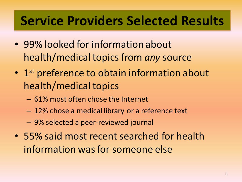 99% looked for information about health/medical topics from any source 1 st preference to obtain information about health/medical topics – 61% most often chose the Internet – 12% chose a medical library or a reference text – 9% selected a peer-reviewed journal 55% said most recent searched for health information was for someone else 9 Service Providers Selected Results