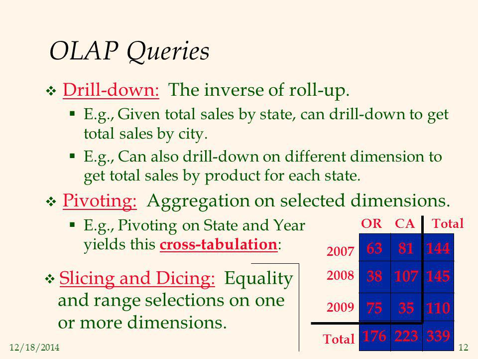 12/18/201412 OLAP Queries  Drill-down: The inverse of roll-up.  E.g., Given total sales by state, can drill-down to get total sales by city.  E.g.,