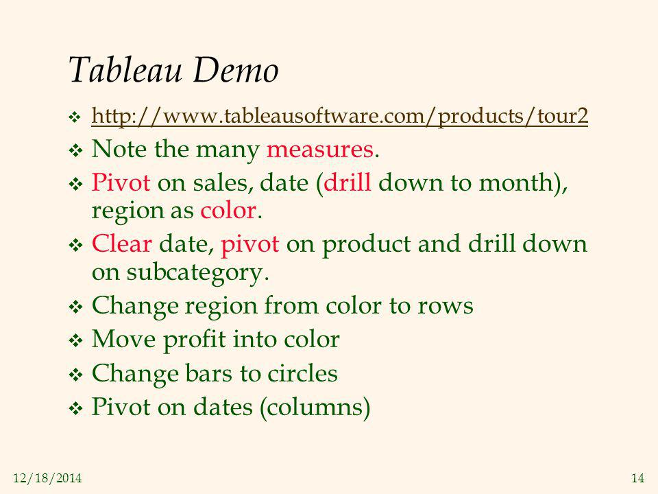 12/18/201414 Tableau Demo  http://www.tableausoftware.com/products/tour2 http://www.tableausoftware.com/products/tour2  Note the many measures.  Pi