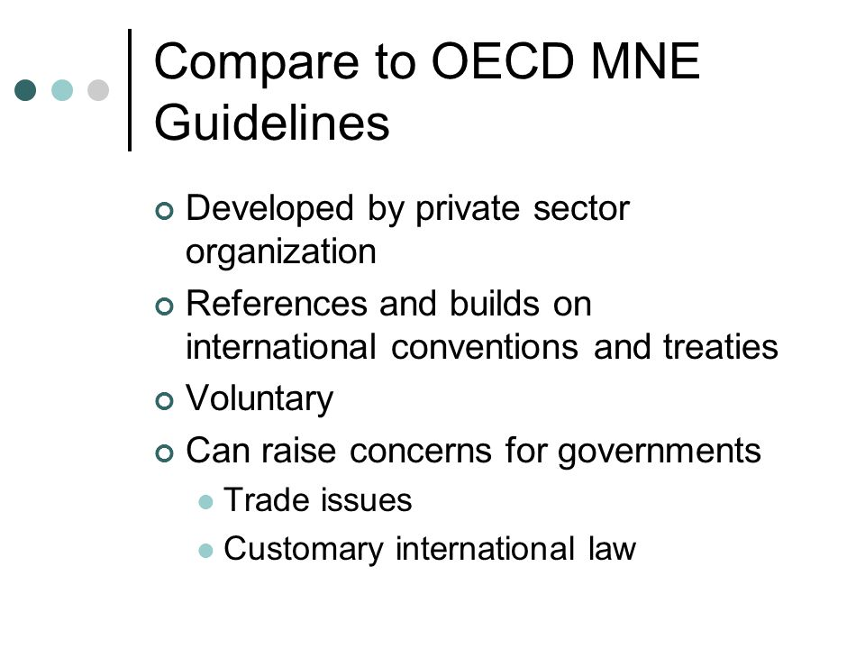 Compare to OECD MNE Guidelines Developed by private sector organization References and builds on international conventions and treaties Voluntary Can raise concerns for governments Trade issues Customary international law