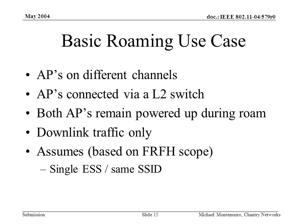 doc.: IEEE 802.11-04/579r0 Submission May 2004 Michael Montemurro, Chantry NetworksSlide 15 Basic Roaming Use Case AP's on different channels AP's con