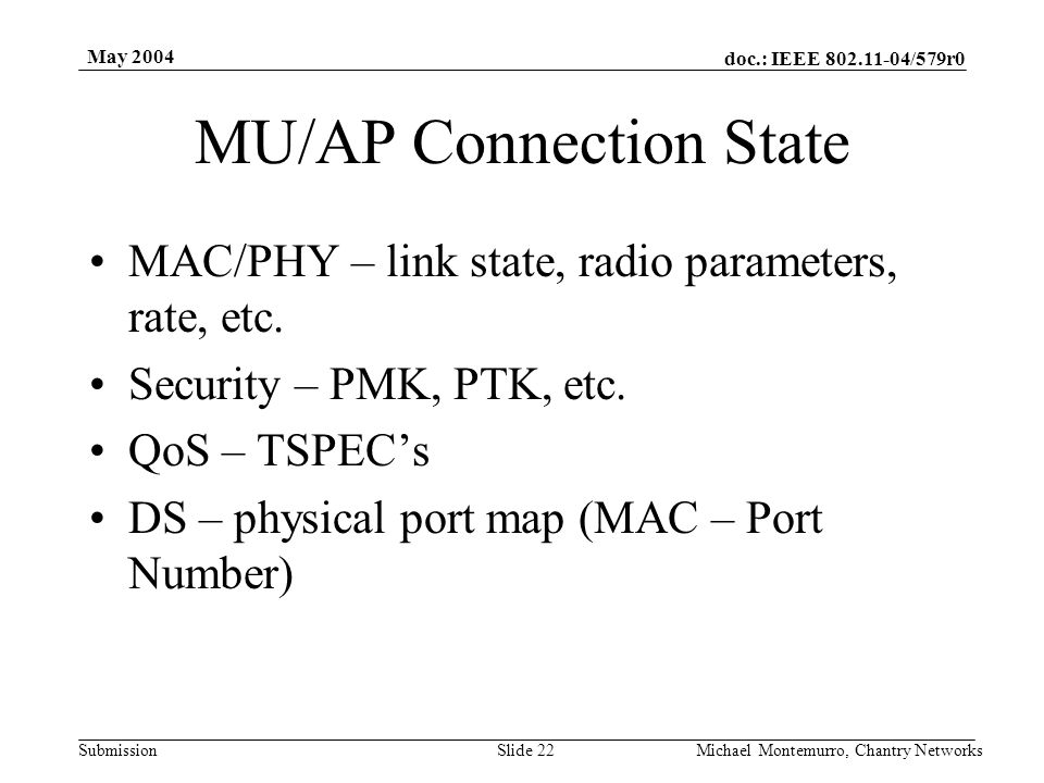 doc.: IEEE 802.11-04/579r0 Submission May 2004 Michael Montemurro, Chantry NetworksSlide 22 MU/AP Connection State MAC/PHY – link state, radio paramet