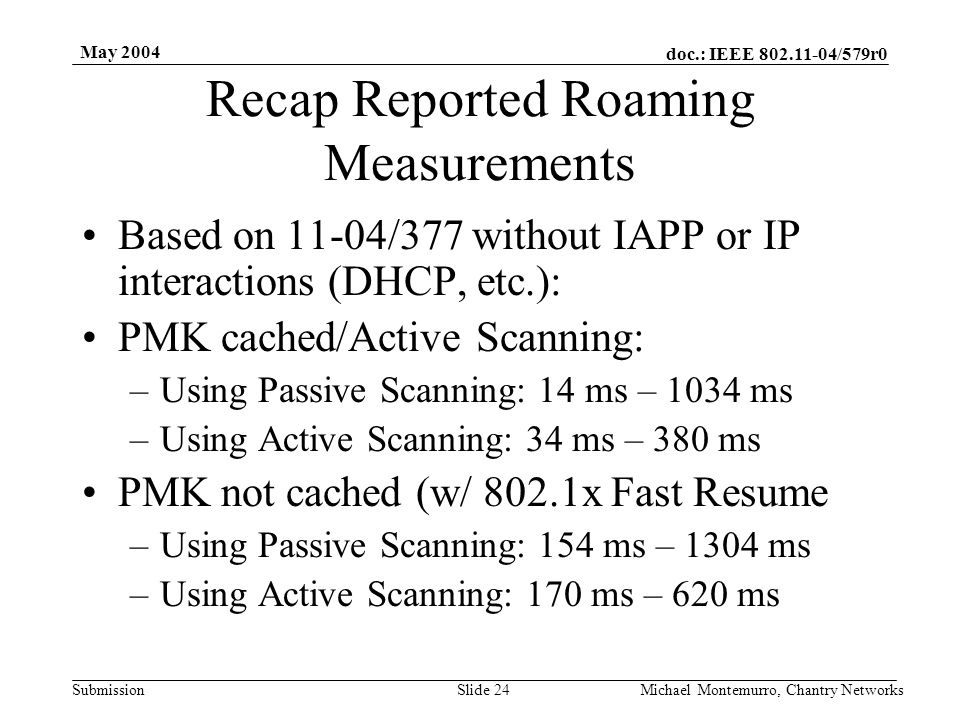 doc.: IEEE 802.11-04/579r0 Submission May 2004 Michael Montemurro, Chantry NetworksSlide 24 Recap Reported Roaming Measurements Based on 11-04/377 wit