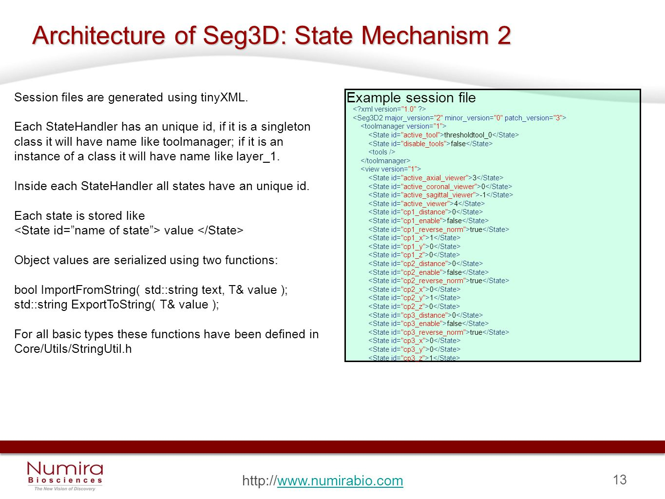13 http://www.numirabio.comwww.numirabio.com Architecture of Seg3D: State Mechanism 2 Session files are generated using tinyXML.