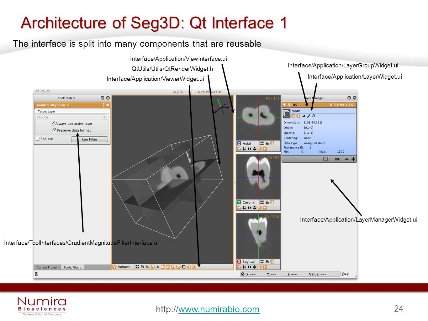 24 http://www.numirabio.comwww.numirabio.com Architecture of Seg3D: Qt Interface 1 Interface/ToolInterfaces/GradientMagnitudeFilterInterface.ui Interface/Application/LayerGroupWidget.ui Interface/Application/LayerWidget.ui Interface/Application/LayerManagerWidget.ui Interface/Application/ViewInterface.ui Interface/Application/ViewerWidget.ui QtUtils/Utils/QtRenderWidget.h The interface is split into many components that are reusable