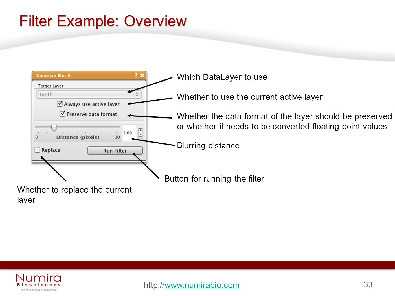 33 http://www.numirabio.comwww.numirabio.com Filter Example: Overview Which DataLayer to use Whether to use the current active layer Whether the data format of the layer should be preserved or whether it needs to be converted floating point values Blurring distance Whether to replace the current layer Button for running the filter