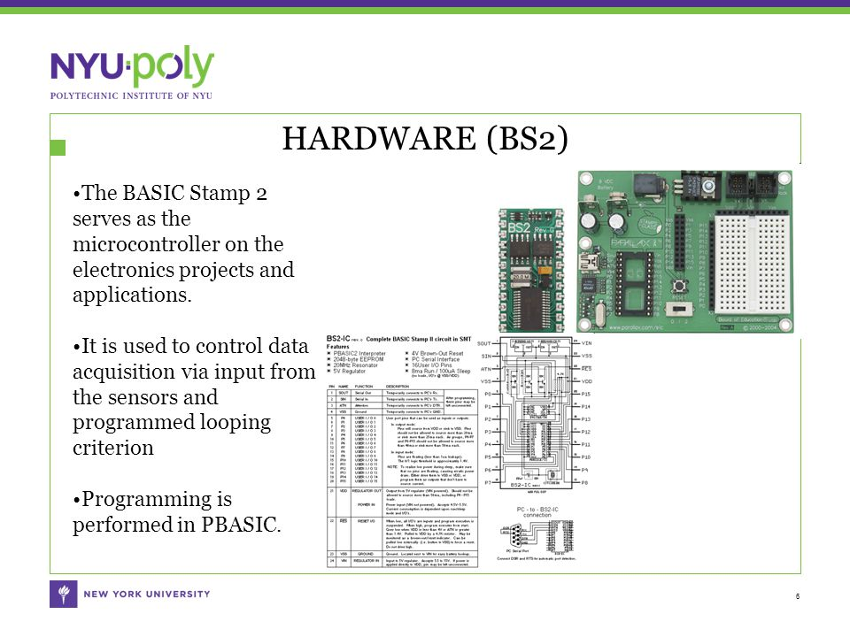 HARDWARE (BS2) 6 The BASIC Stamp 2 serves as the microcontroller on the electronics projects and applications.