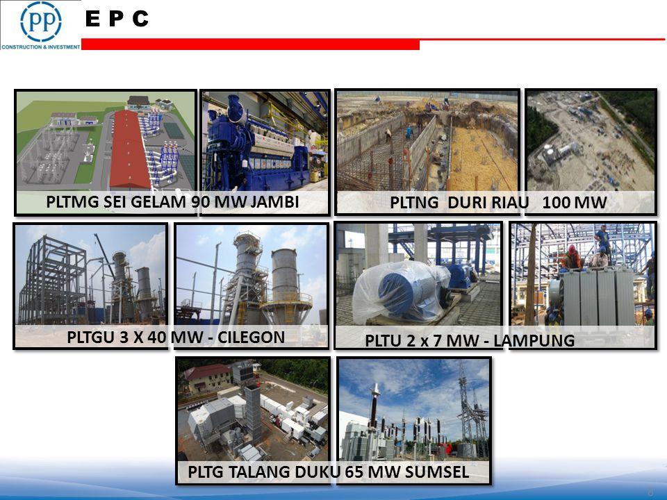 PLTGU 3 X 40 MW - CILEGON PLTNG DURI RIAU 100 MW PLTMG SEI GELAM 90 MW JAMBI PLTG TALANG DUKU 65 MW SUMSEL 8 PLTU 2 x 7 MW - LAMPUNG E P C