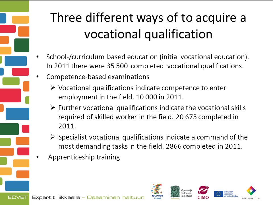 Three different ways of to acquire a vocational qualification School-/curriculum based education (initial vocational education).