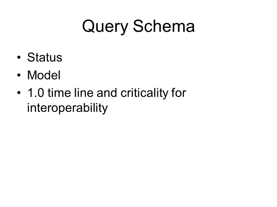 Query Schema Status Model 1.0 time line and criticality for interoperability